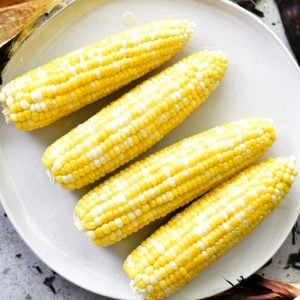 grill corn on the cob on a platter
