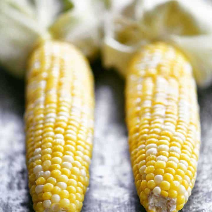 microwave corn on the cob cooked and peeled
