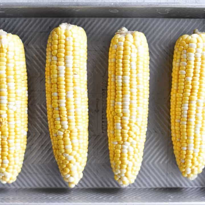 oven roasted corn on the cob peeled in pan