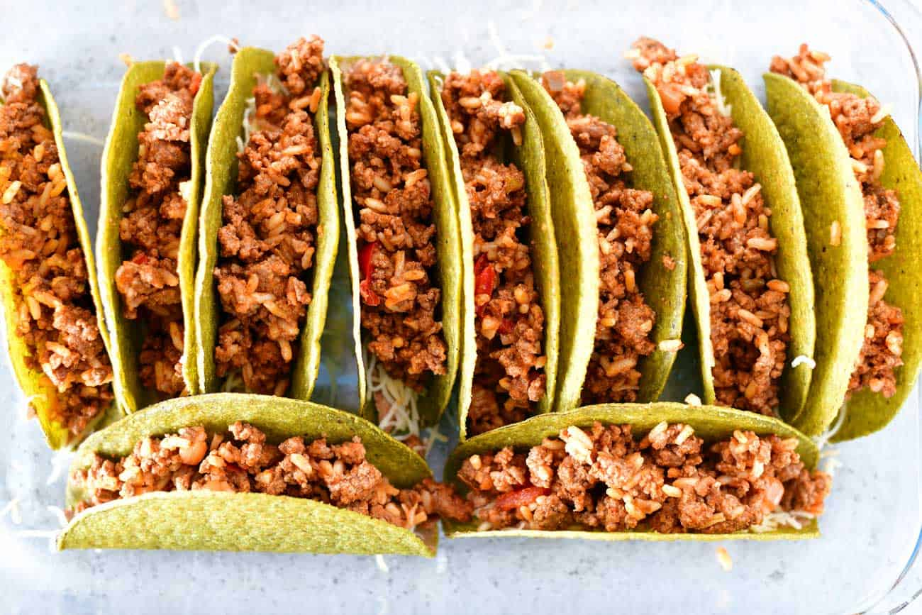 taco meat in shells