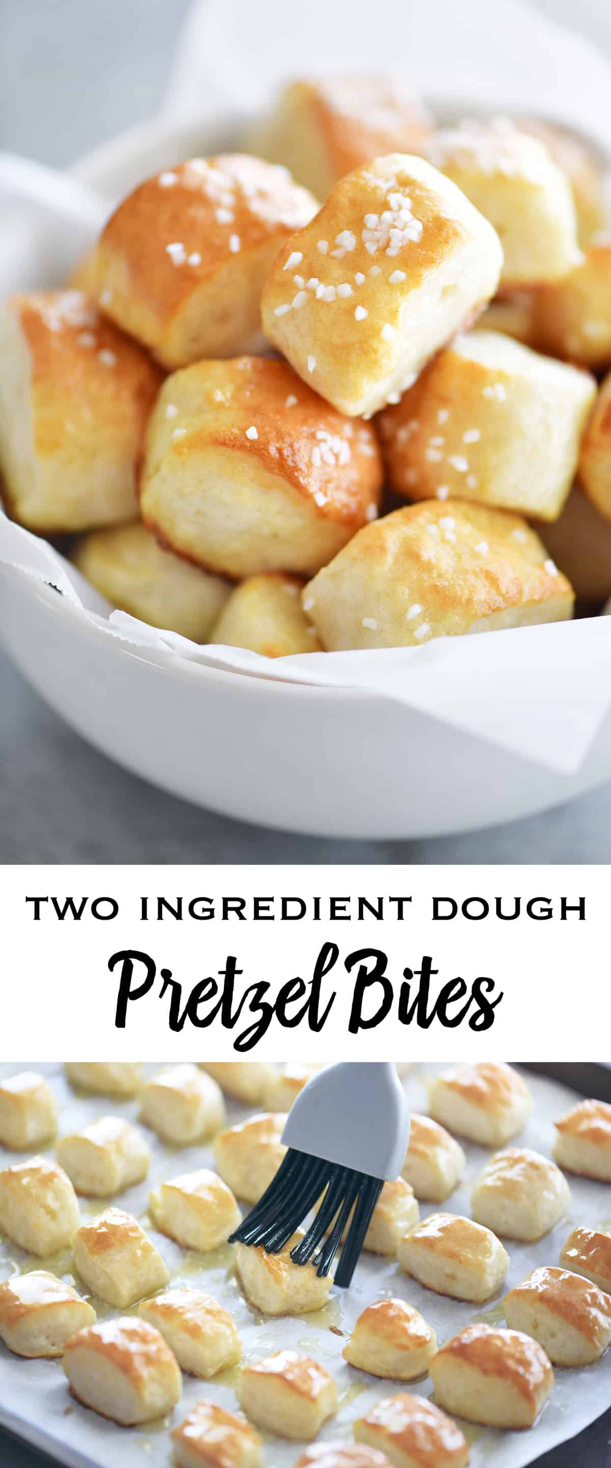 Two Ingredient Dough Pretzel Bites are SUPER EASY to make with no yeast and no waiting for the dough to rise. Just mix the dough, cut nuggets, dip in baking soda water and bake!