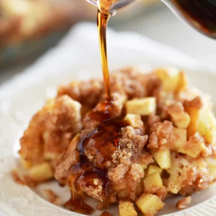 pour syrup on apple cinnamon french toast casserole