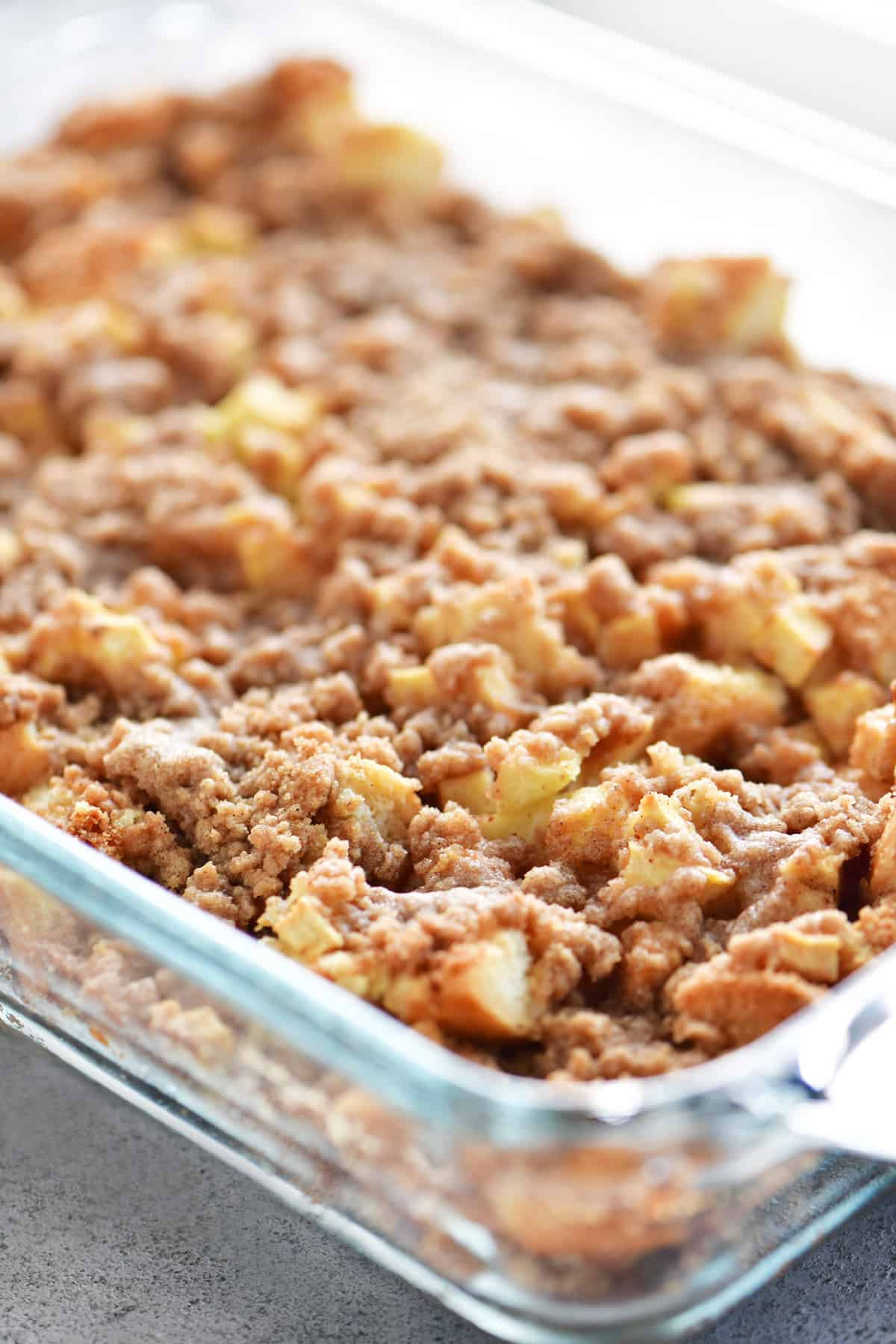 pan of apple cinnamon french toast casserole