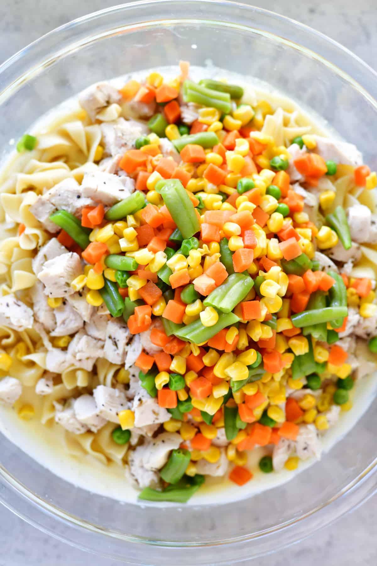 chicken noodle soup casserole veggies