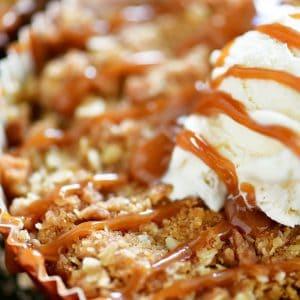 mini apple crisps with vanilla ice cream and caramel drizzle