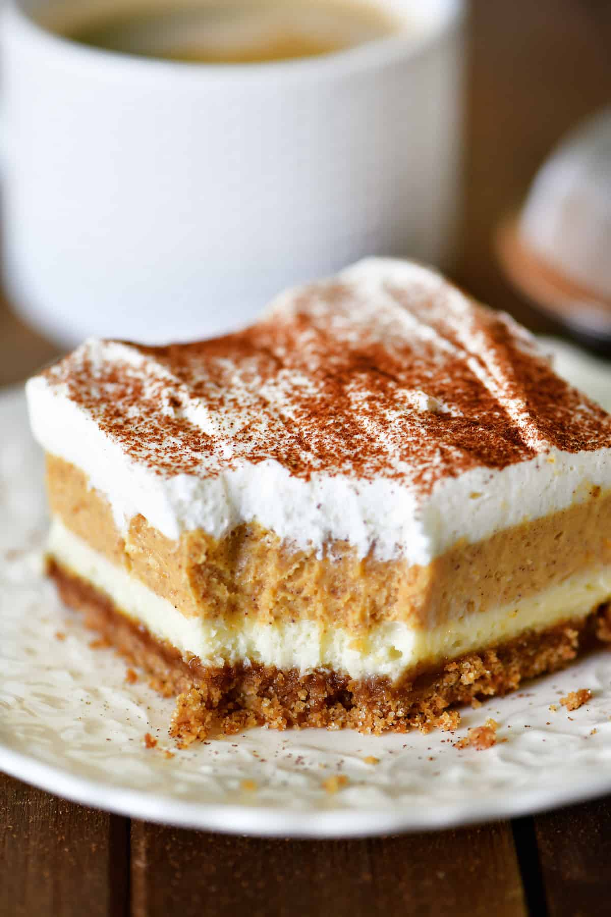 Pumpkin Cheesecake Dessert Bite with Coffee