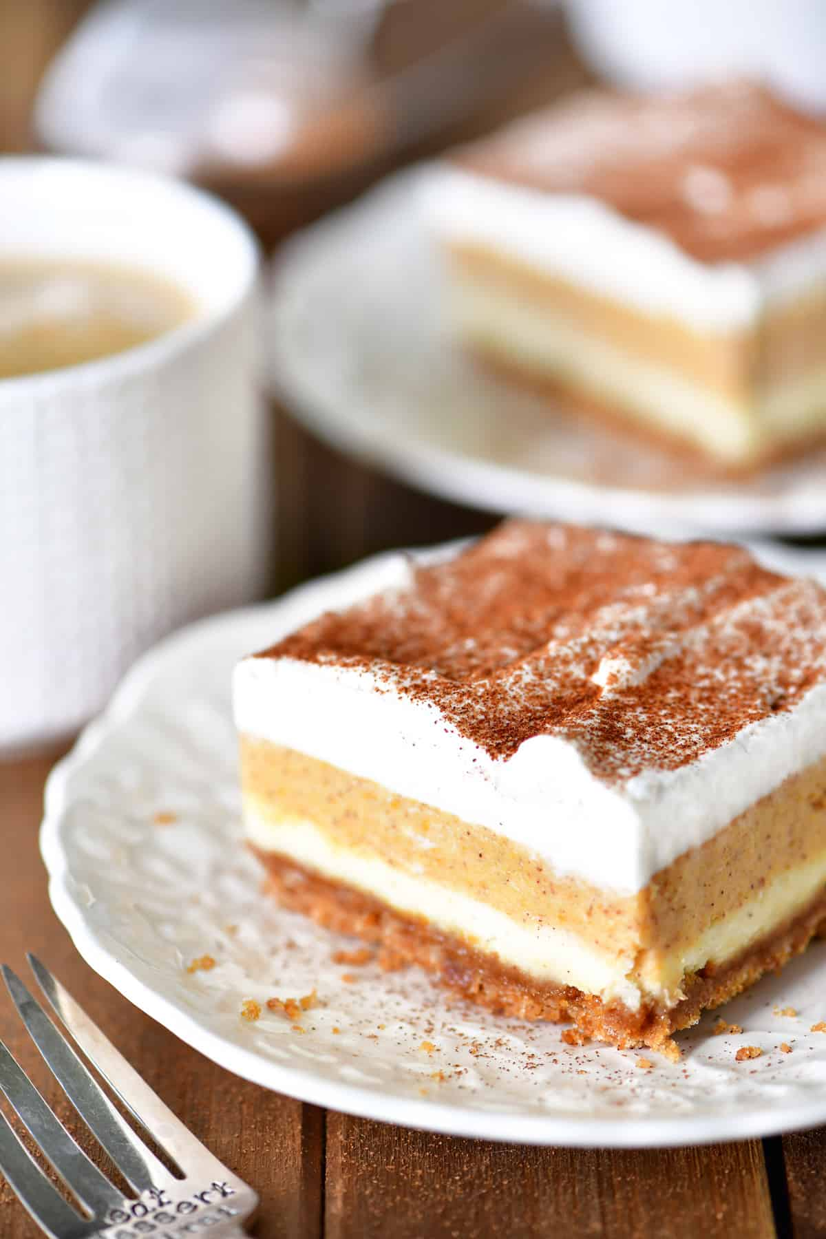 Pumpkin Cheesecake Dessert Slices with Coffee