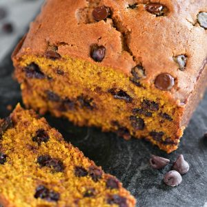 pumpkin chocolate chip bread loaf sliced