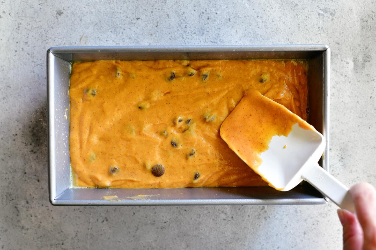 spread pumpkin chocolate chip bread batter