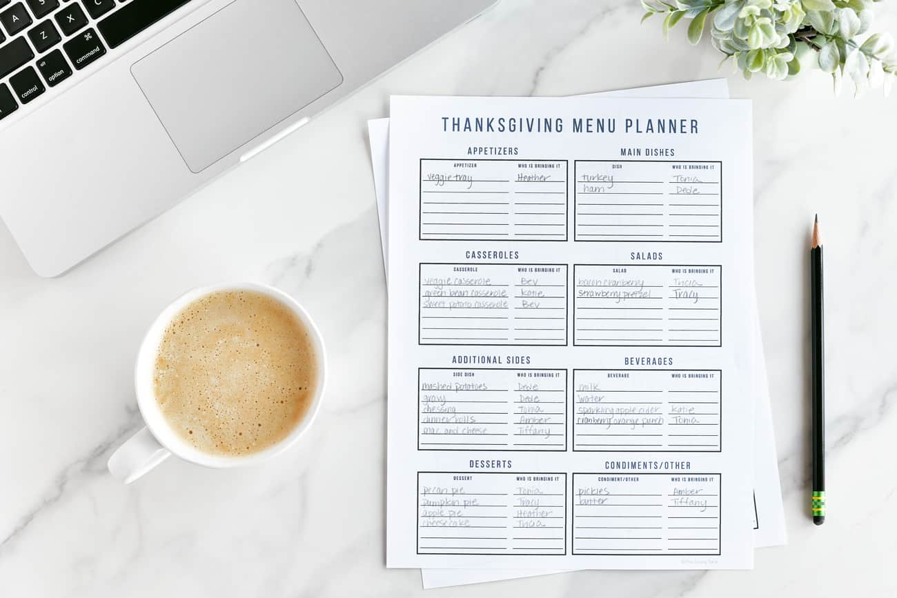 Thanksgiving Menu Planner on table with coffee and laptop