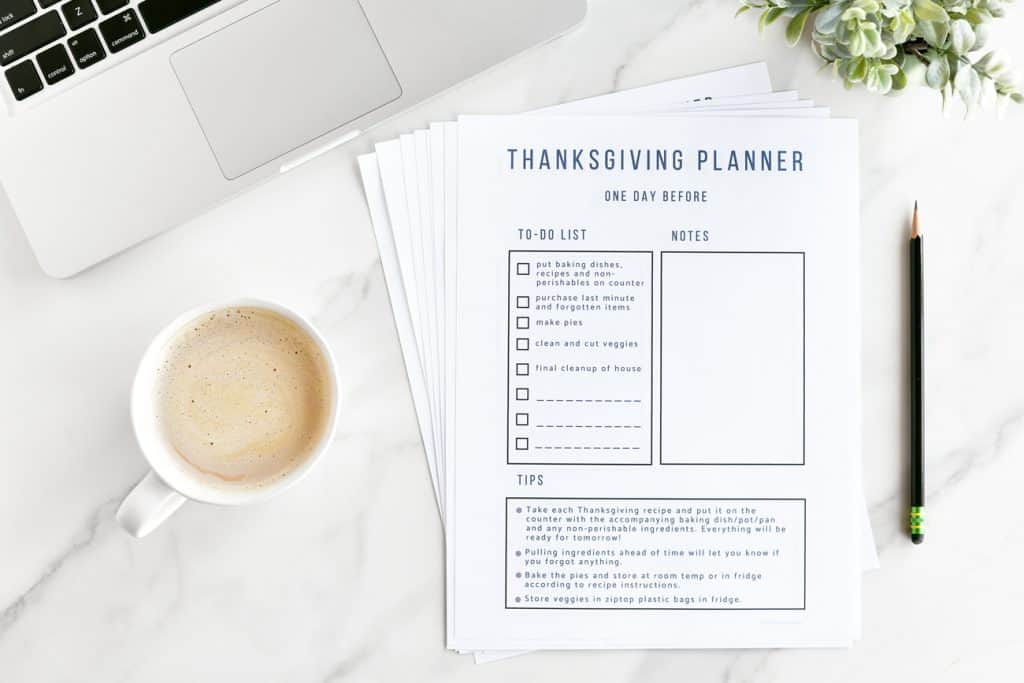 photo about Time and to Do Planner known as Thanksgiving Countdown Planner and List - The Gunny Sack