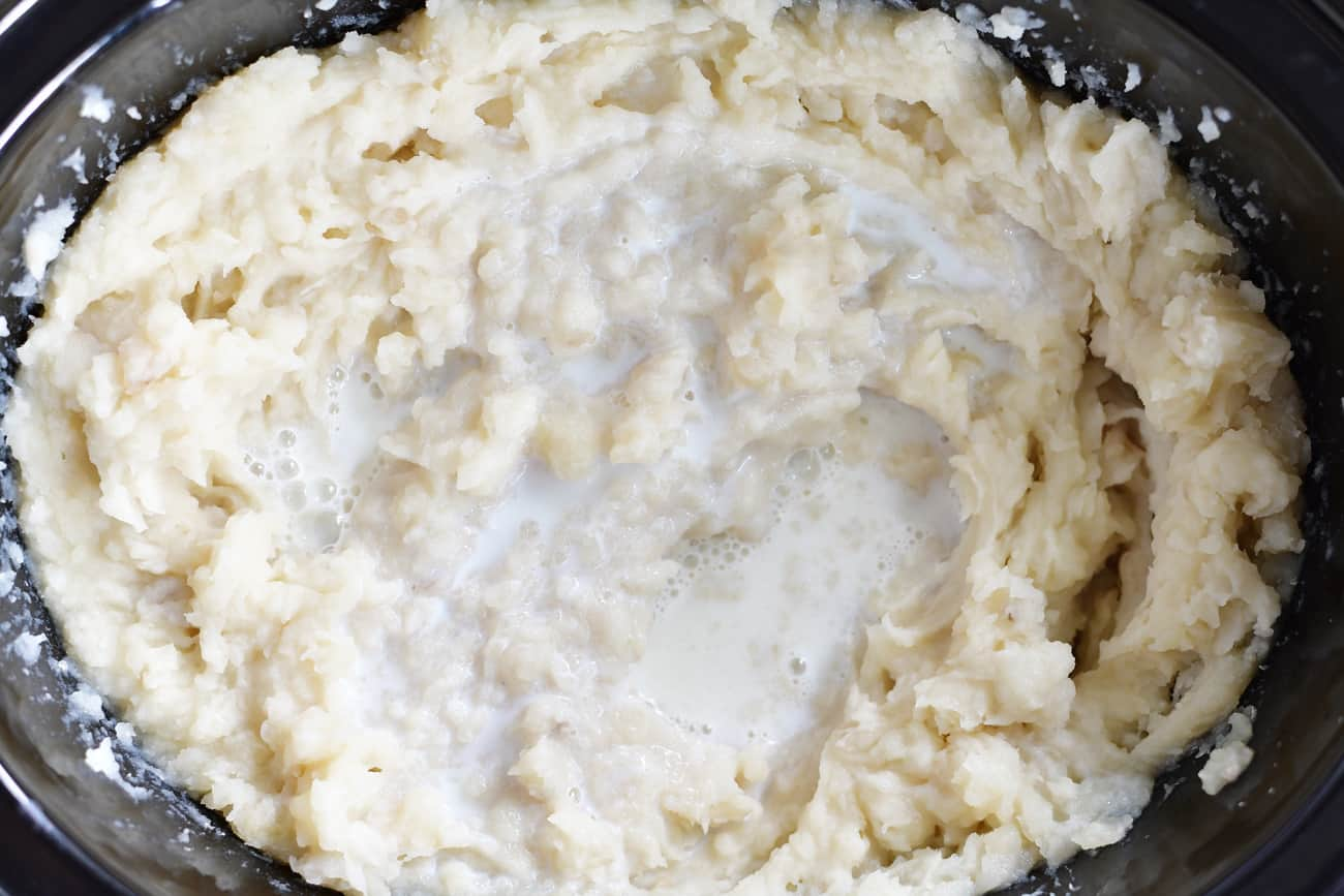 milk added to slow cooker mashed potatoes