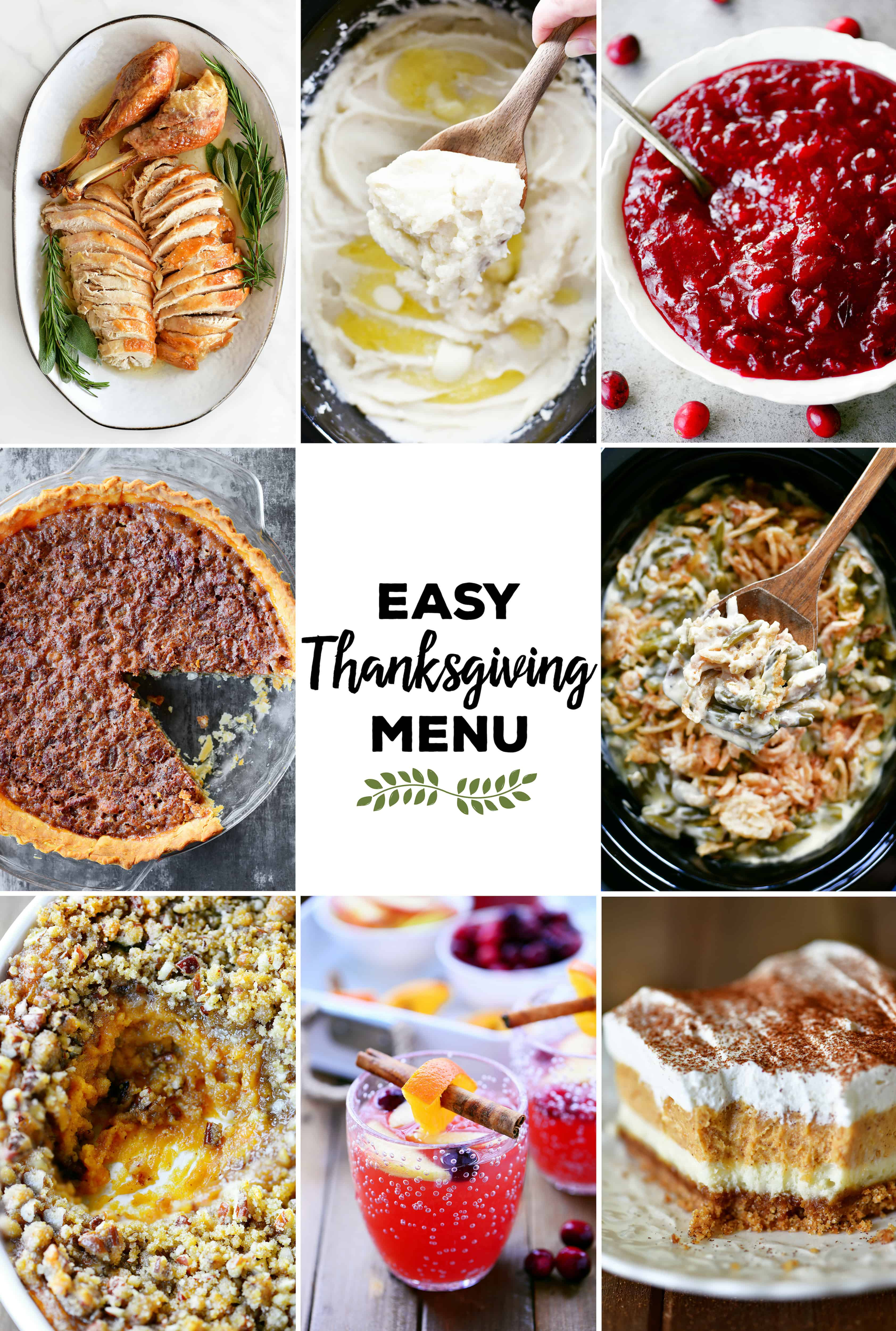collage of easy Thanksgiving menu items