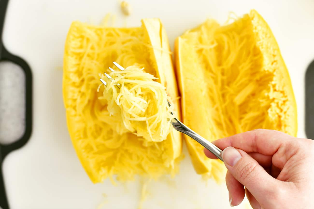 cooked spaghetti squash on fork