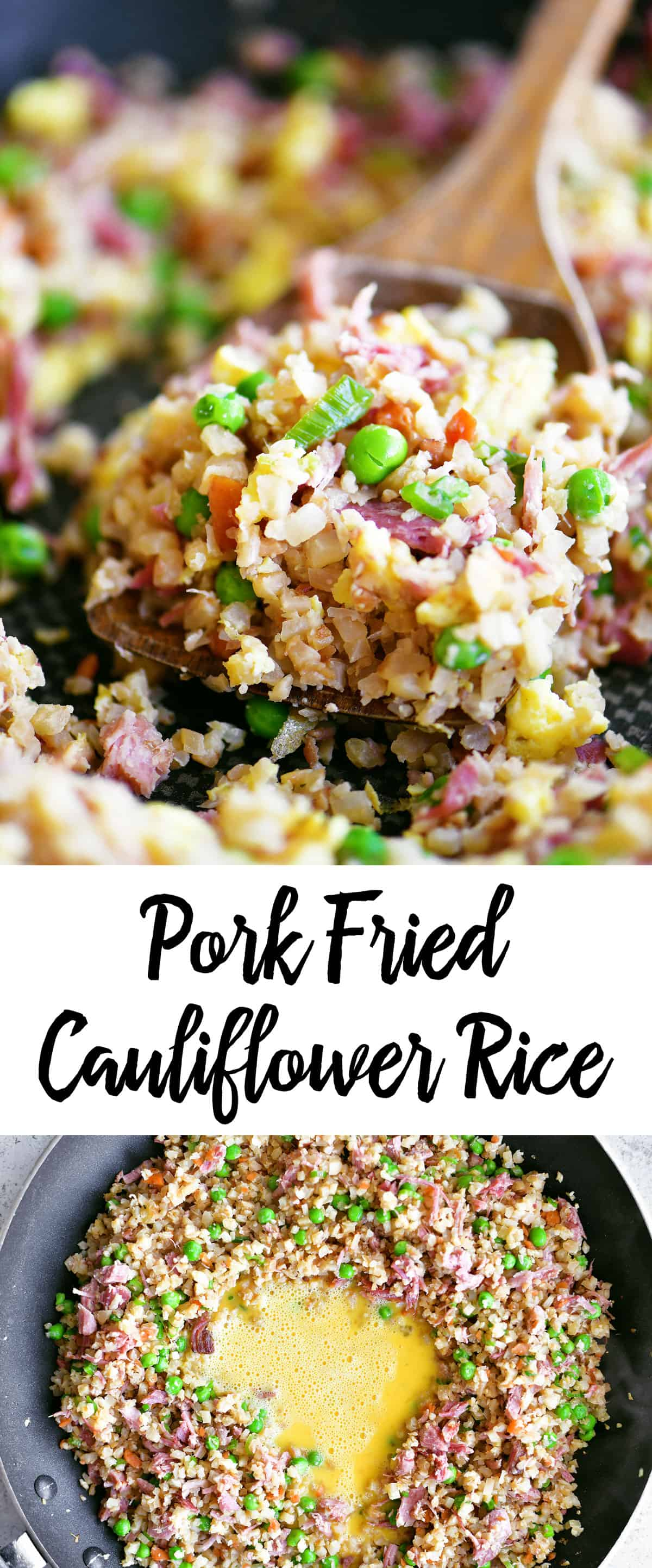 pork fried cauliflower rice image collage