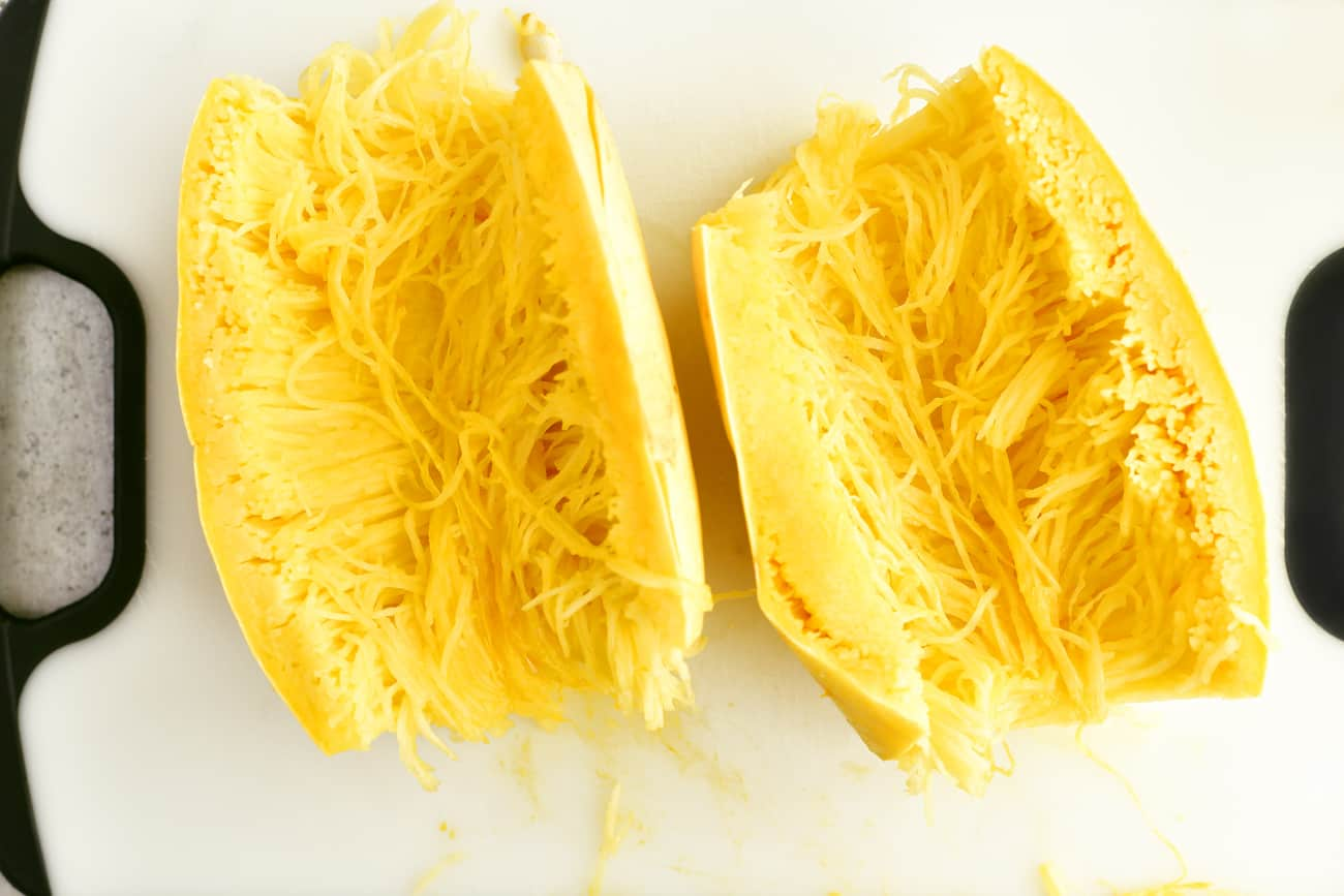 pulp and seeds removed from the spaghetti squash