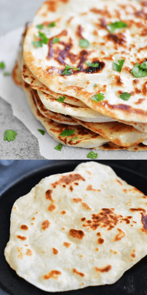 Serve Two Ingredient Dough Naan Flatbread as a side or turn it into mini pizzas or sandwich wraps! It's EASY to make with no yeast and no waiting for dough to rise!