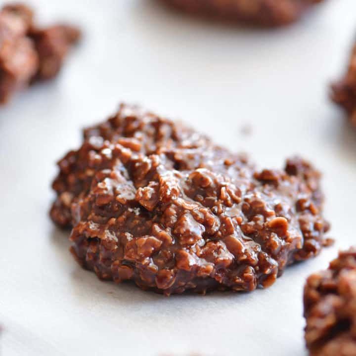 chocolate no bake cookies on parchment paper