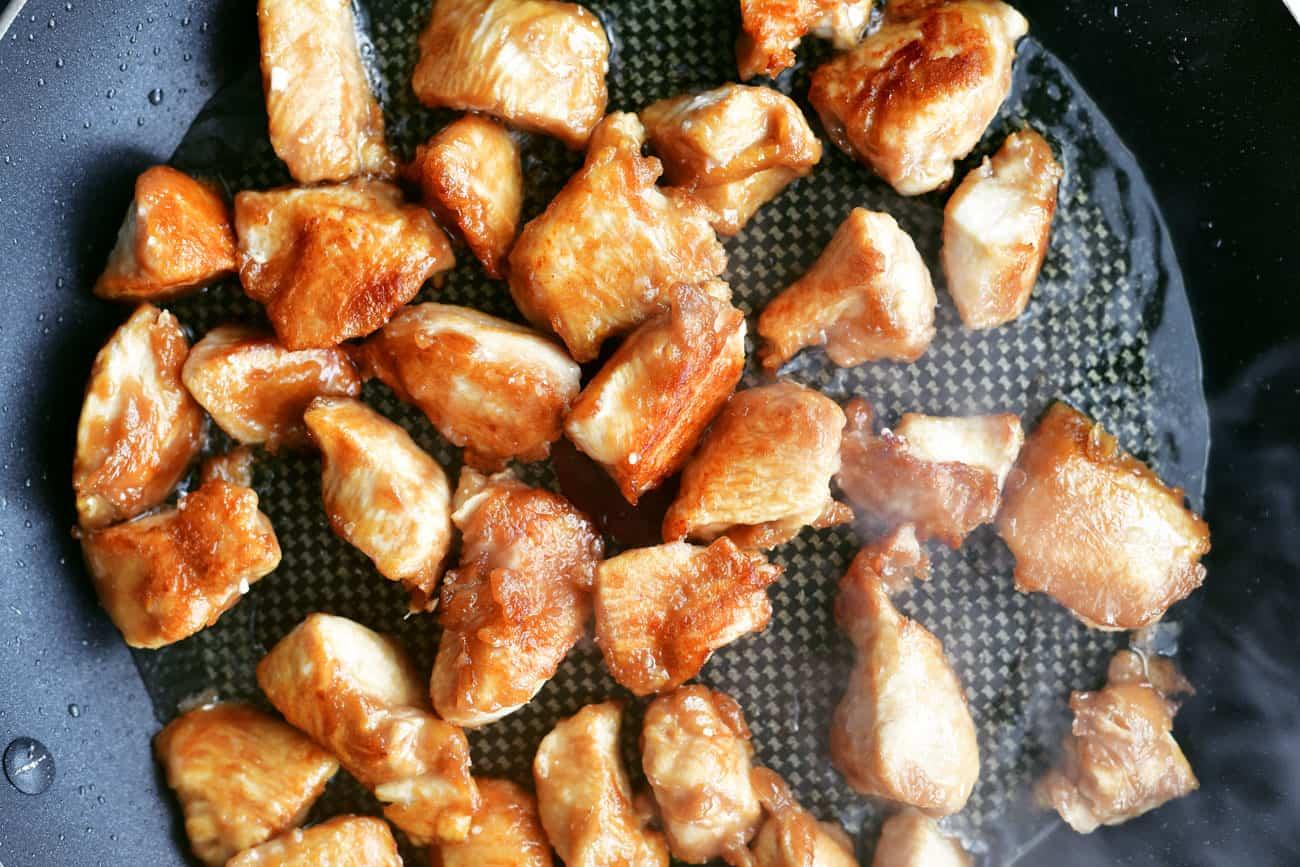 deep fried general tso chicken in skillet