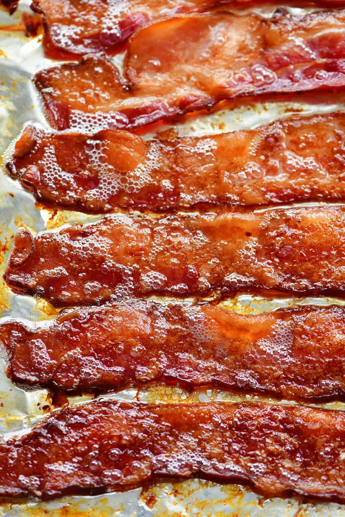 cooked bacon in a baking sheet