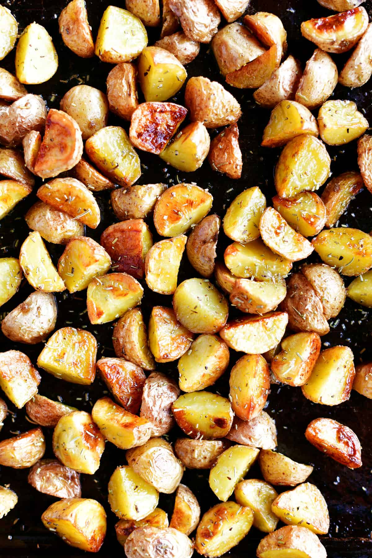 oven roasted potatoes in pan
