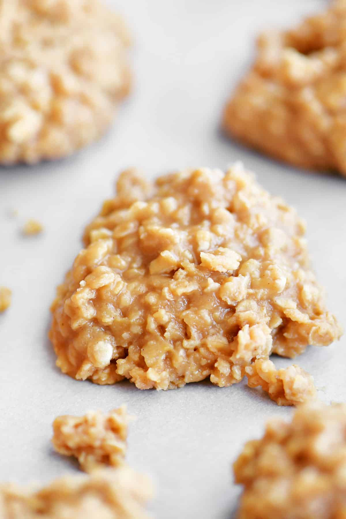 peanut butter no bake cookie on parchment paper