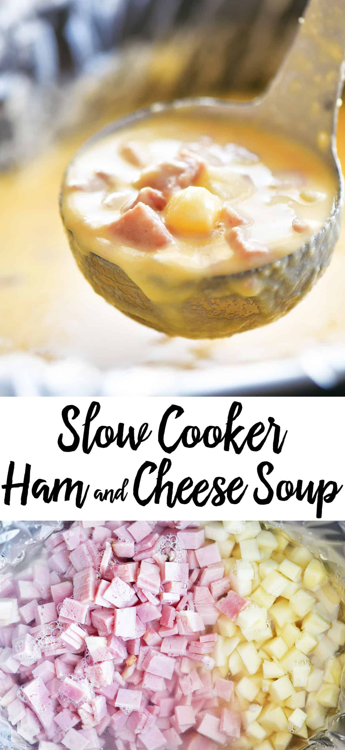 slow cooker ham and cheese soup recipe pin
