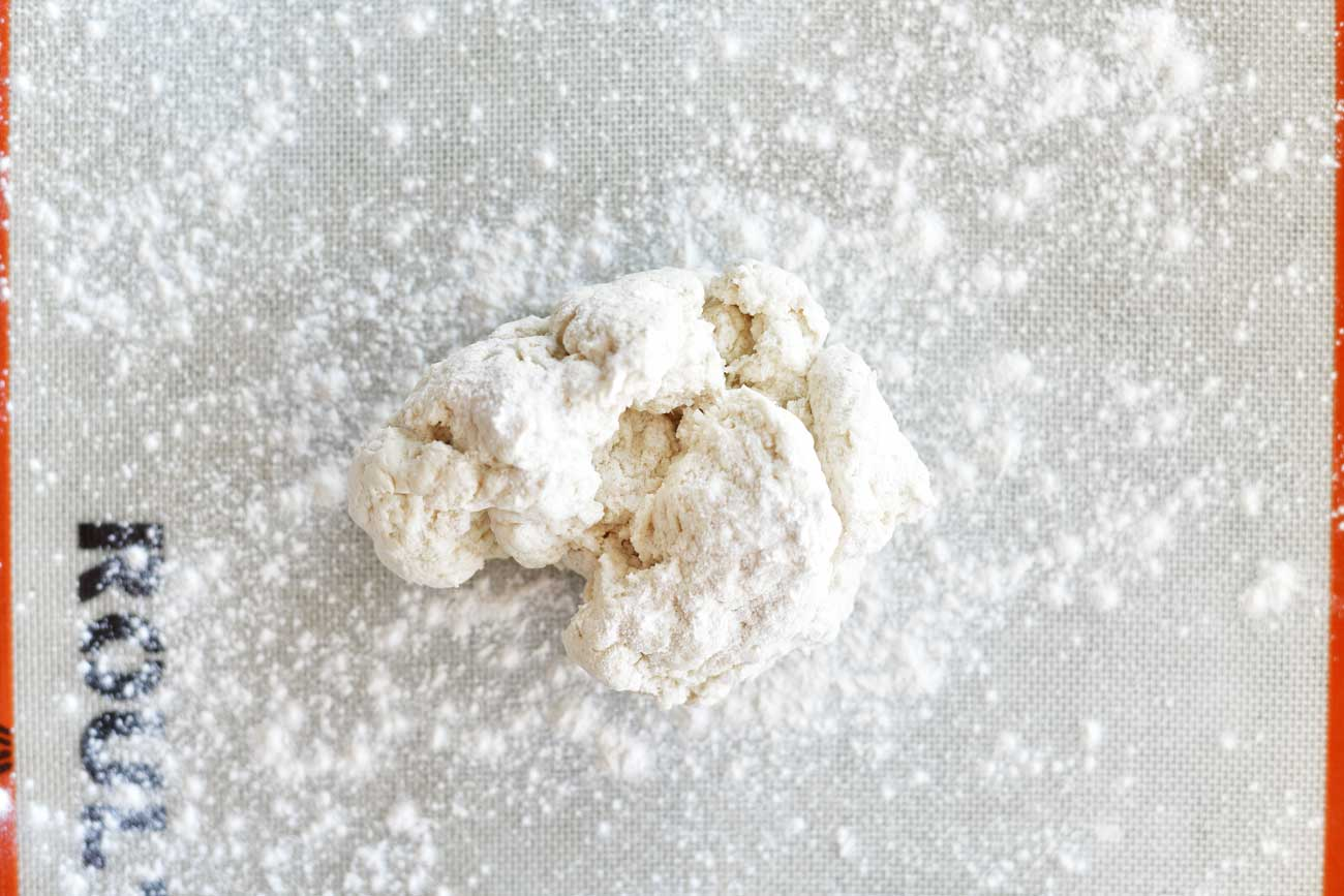 two ingredient dough on a floured surface for breadsticks