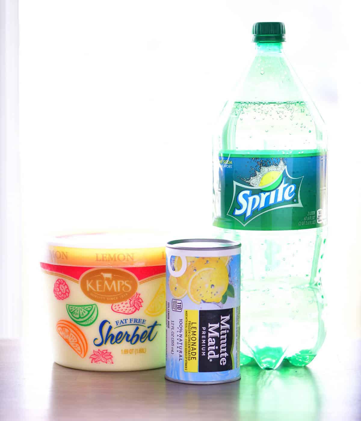 lemon sherbet, lemonade concentrate, lemon-lime soda for lemon sherbet punch