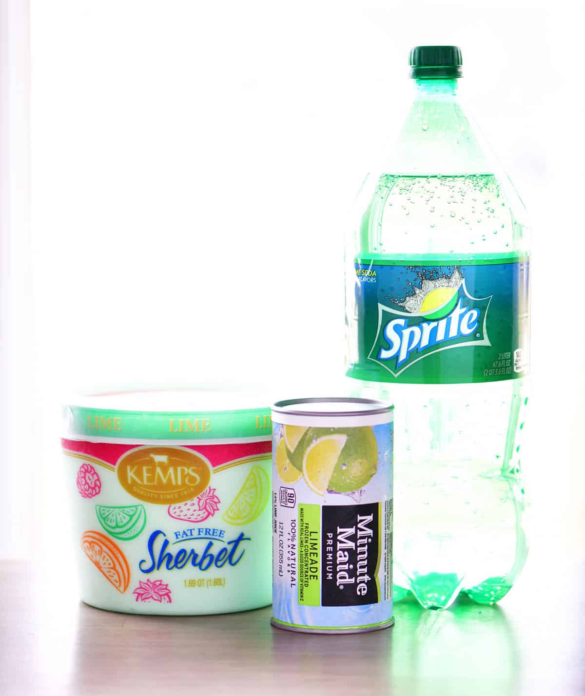 lime sherbet, limeade concentrate, and lemon-lime soda for lime sherbet punch