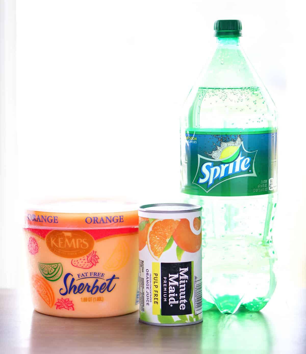 orange sherbet, orange juice concentrate and lemon-lime soda for orange sherbet punch