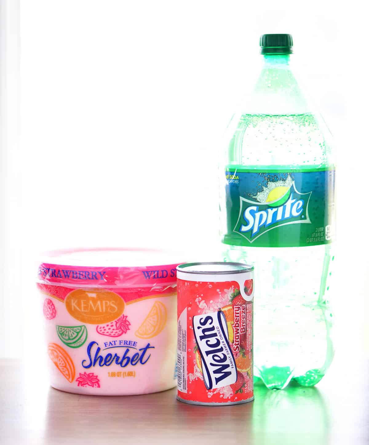 strawberry sherbet, strawberry juice and sprite for strawberry sherbet punch recipe