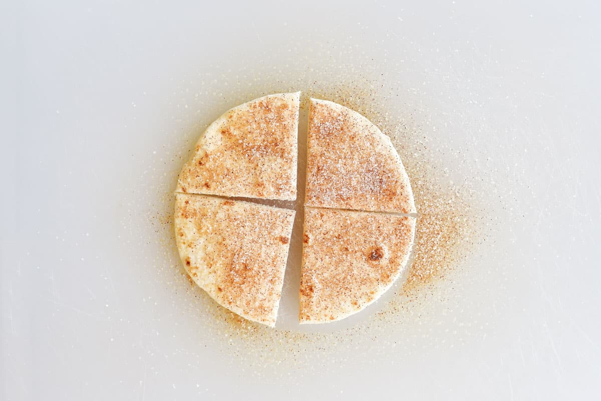 mini tortilla sprinkled with cinnamon sugar and cut into fourths