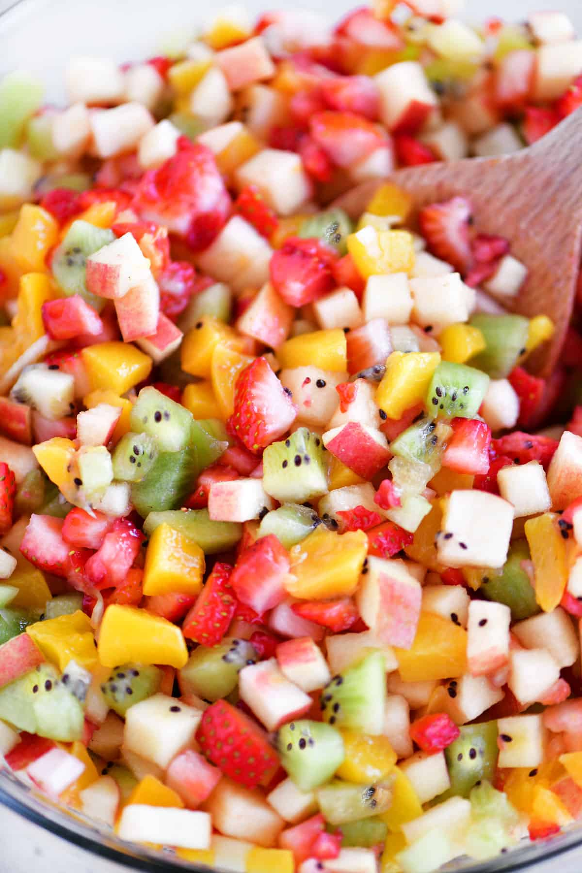 fruit salsa in a glass bowl