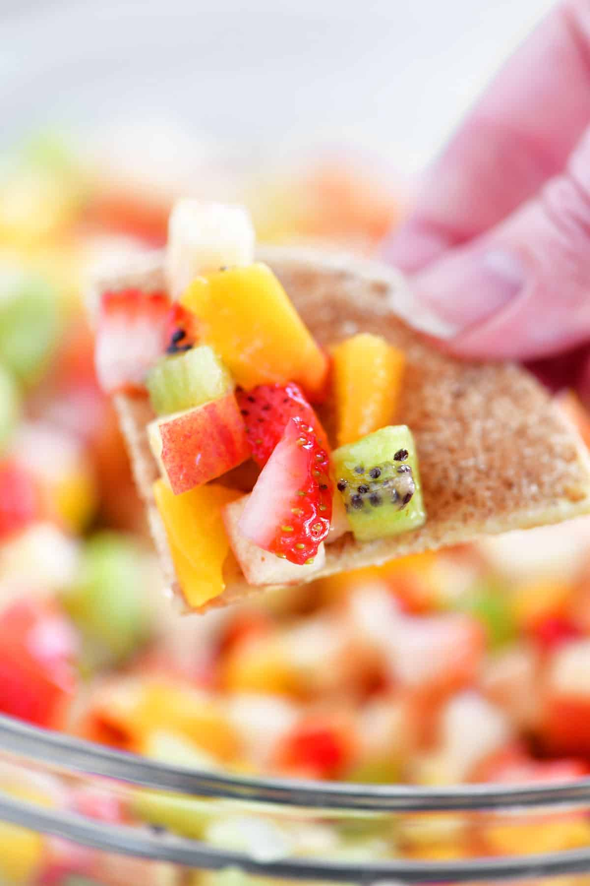 fruit salsa on a cinnamon chips