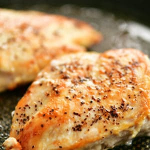 chicken breasts cooked on the stove