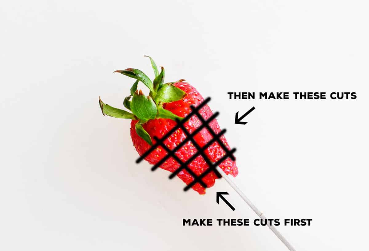 diagram for how to slice a strawberry