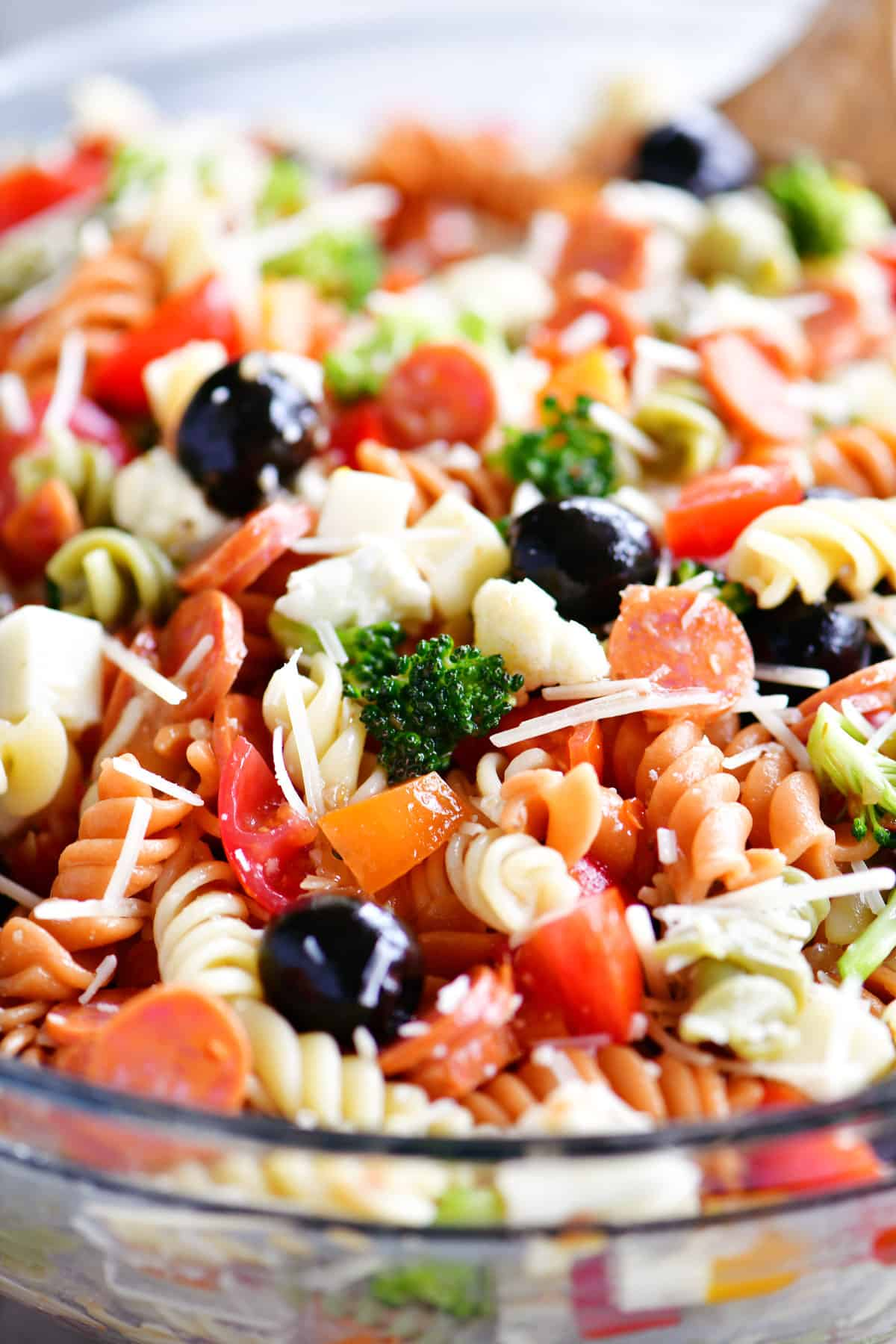 Italian pasta salad in a bowl