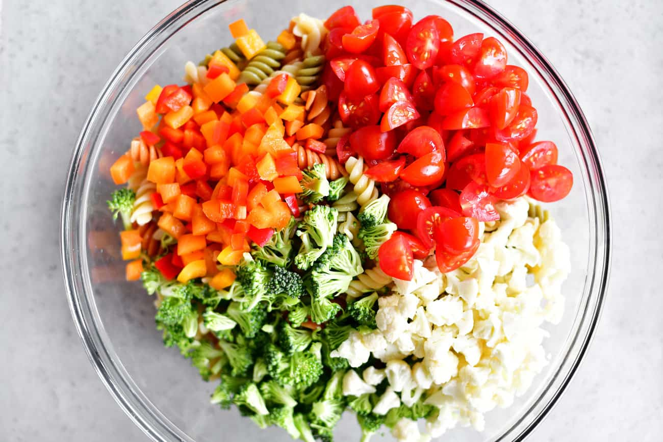 chopped veggies on the Italian pasta salad in a bowl