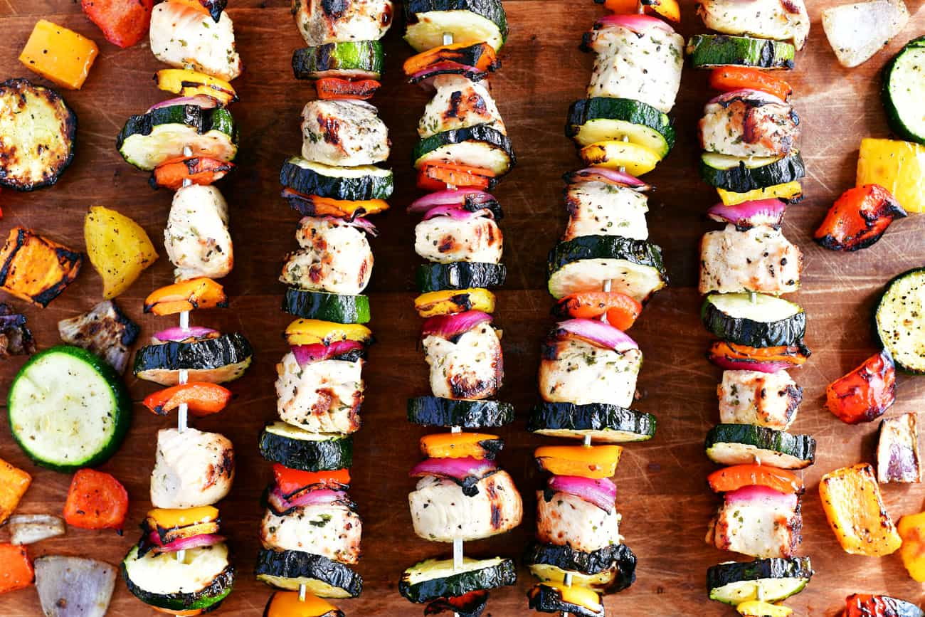 grilled chicken kabobs with peppers onions and zucchini
