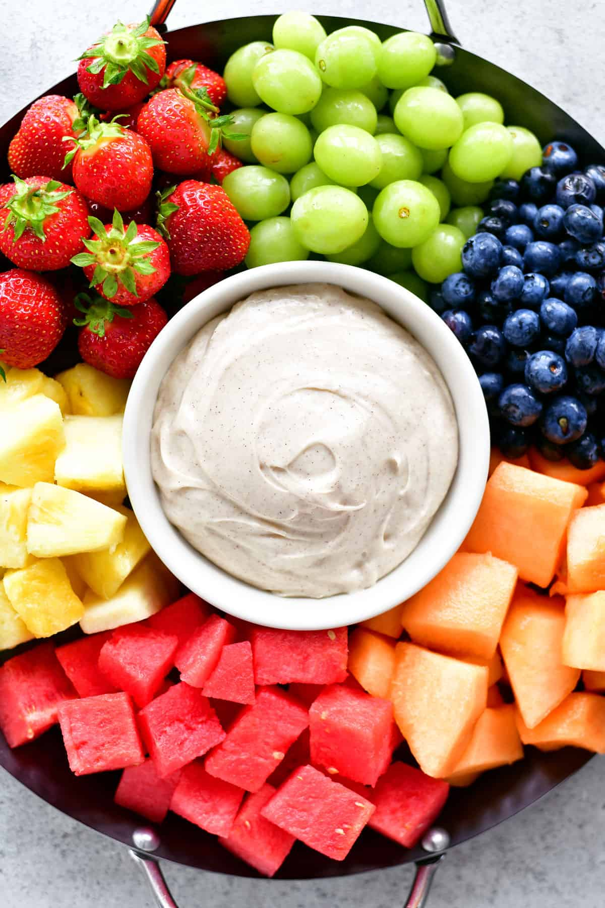 fruit dip on tray with fruit
