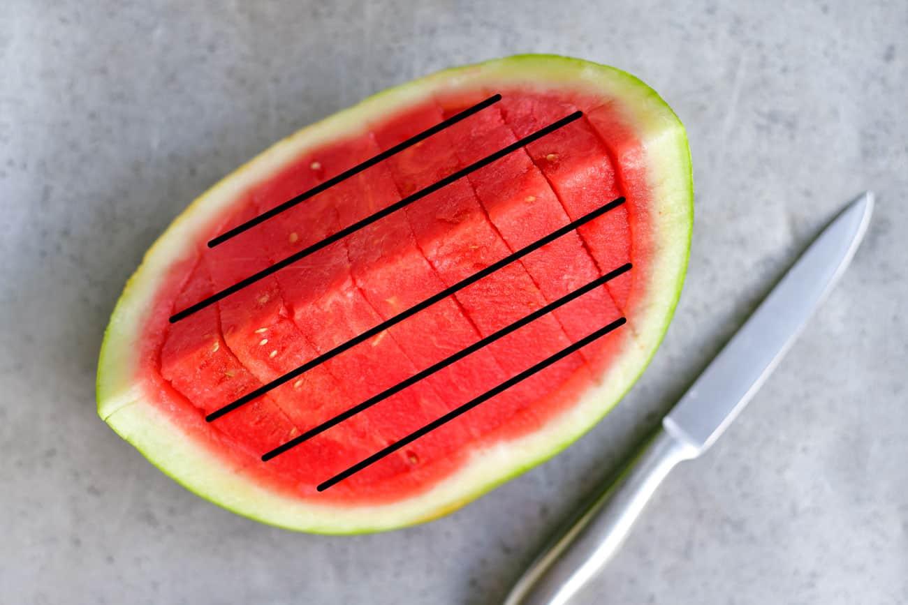make horizontal cuts in watermelon wedge