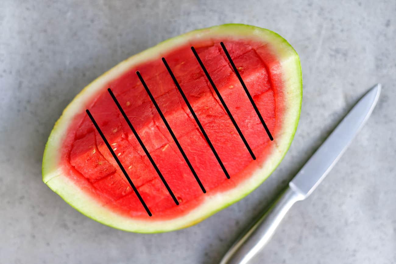 make vertical cuts in watermelon wedge