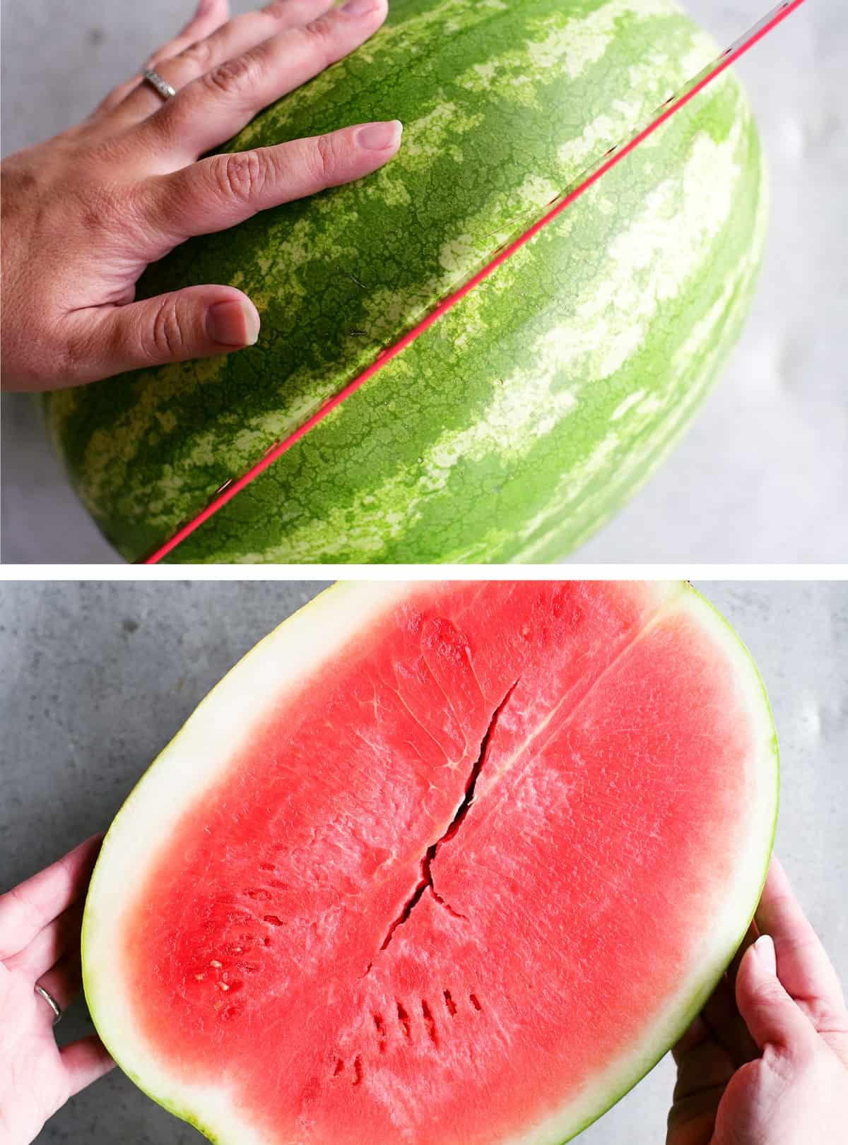 cutting open a watermelon with a knife