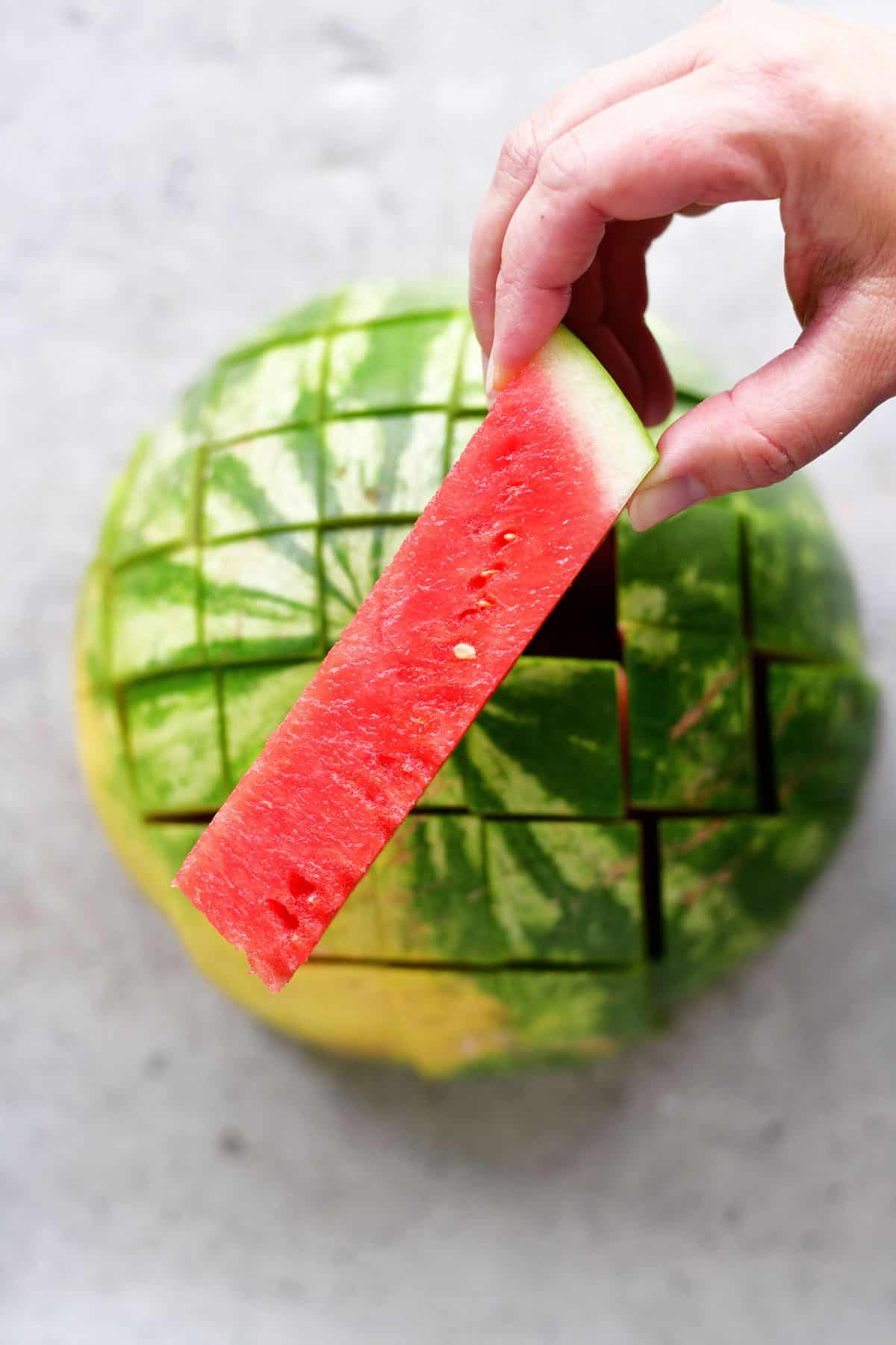 a watermelon stick