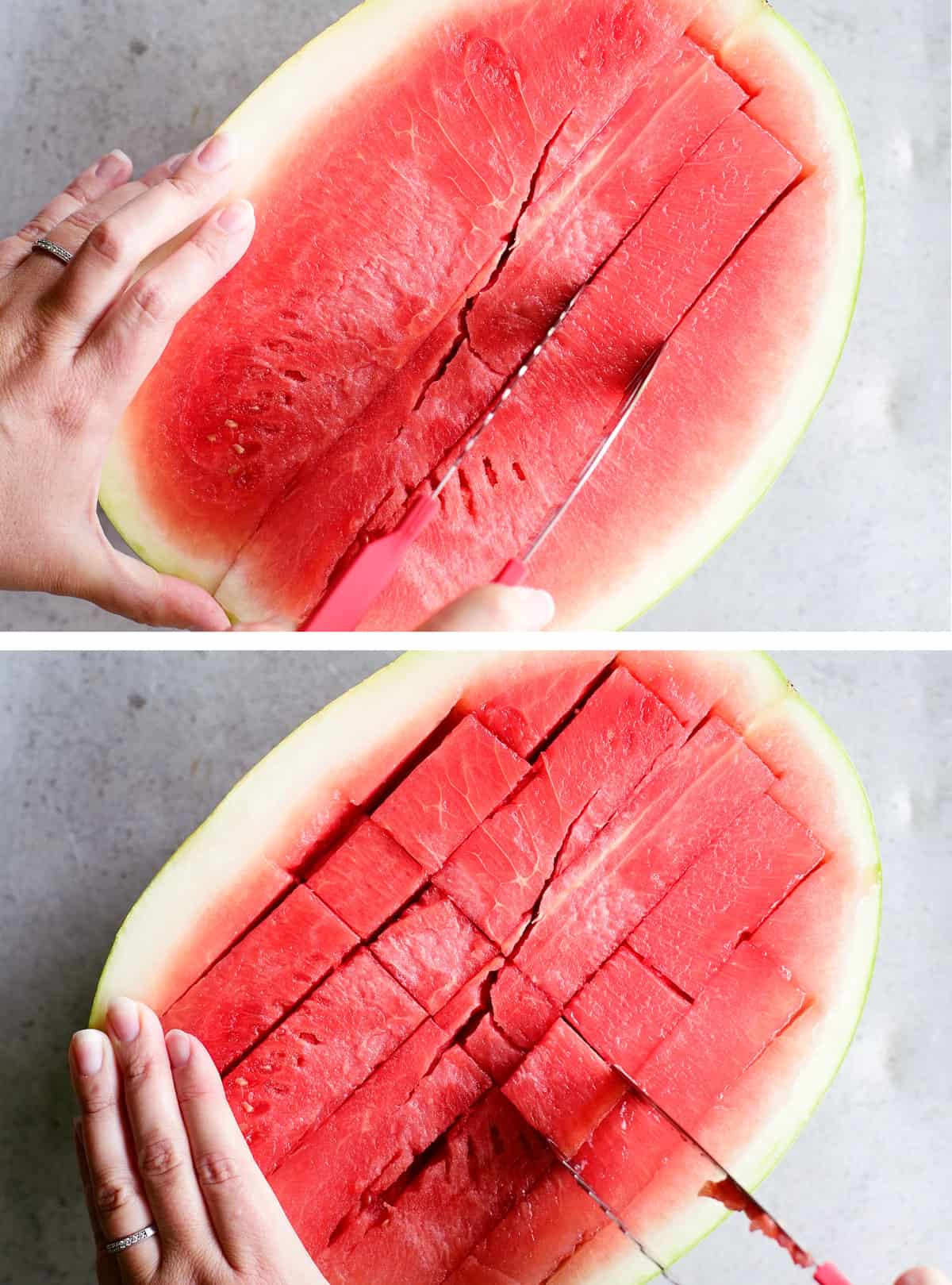 using watermelon tongs to cut a watermelon