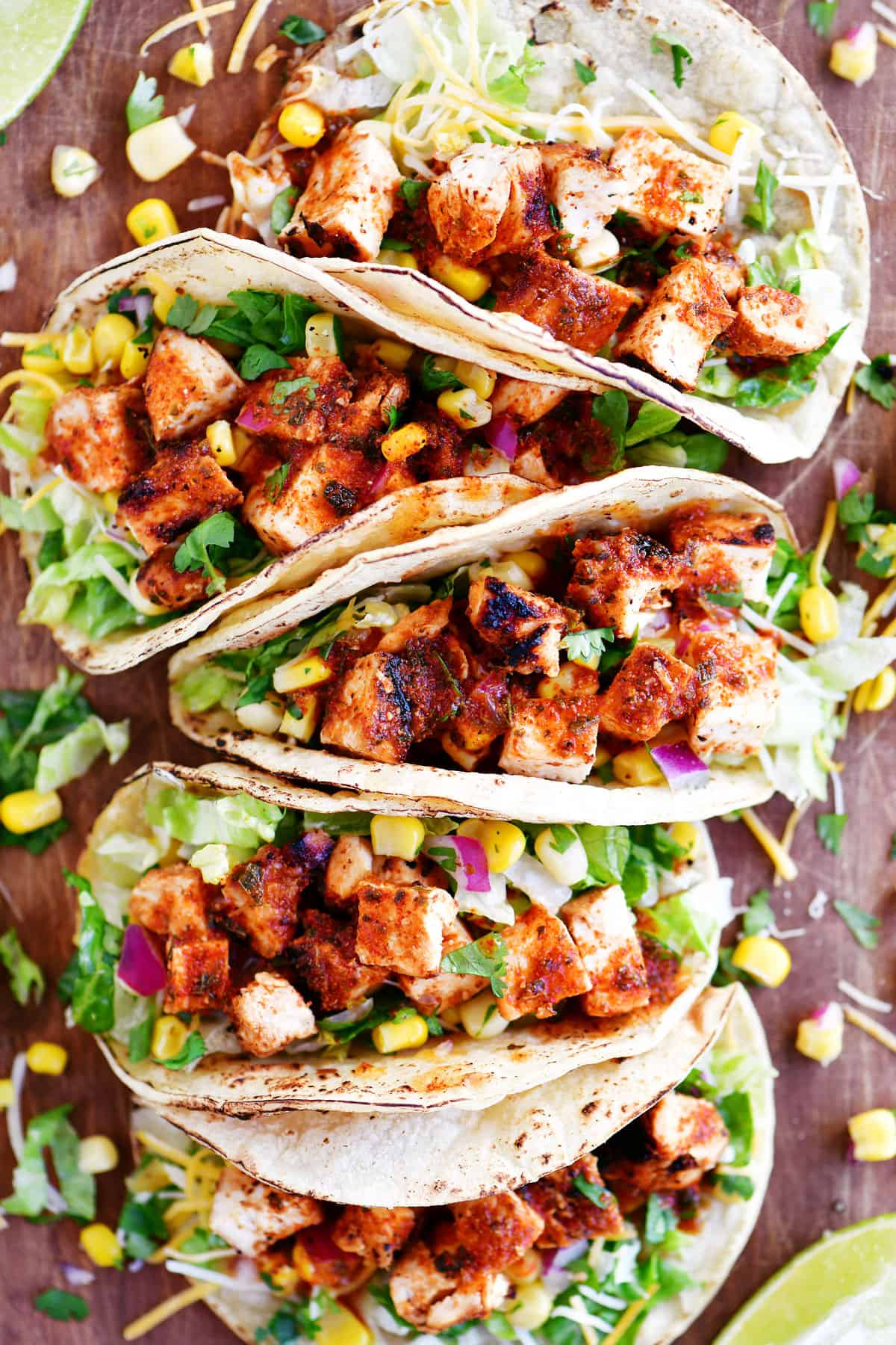 chipotle chicken tacos in a row