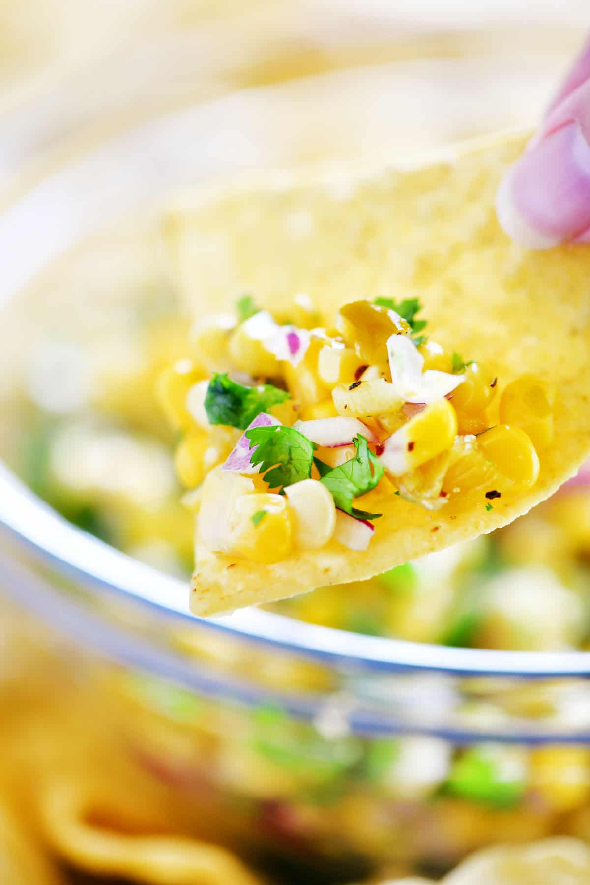 corn salsa on a chip