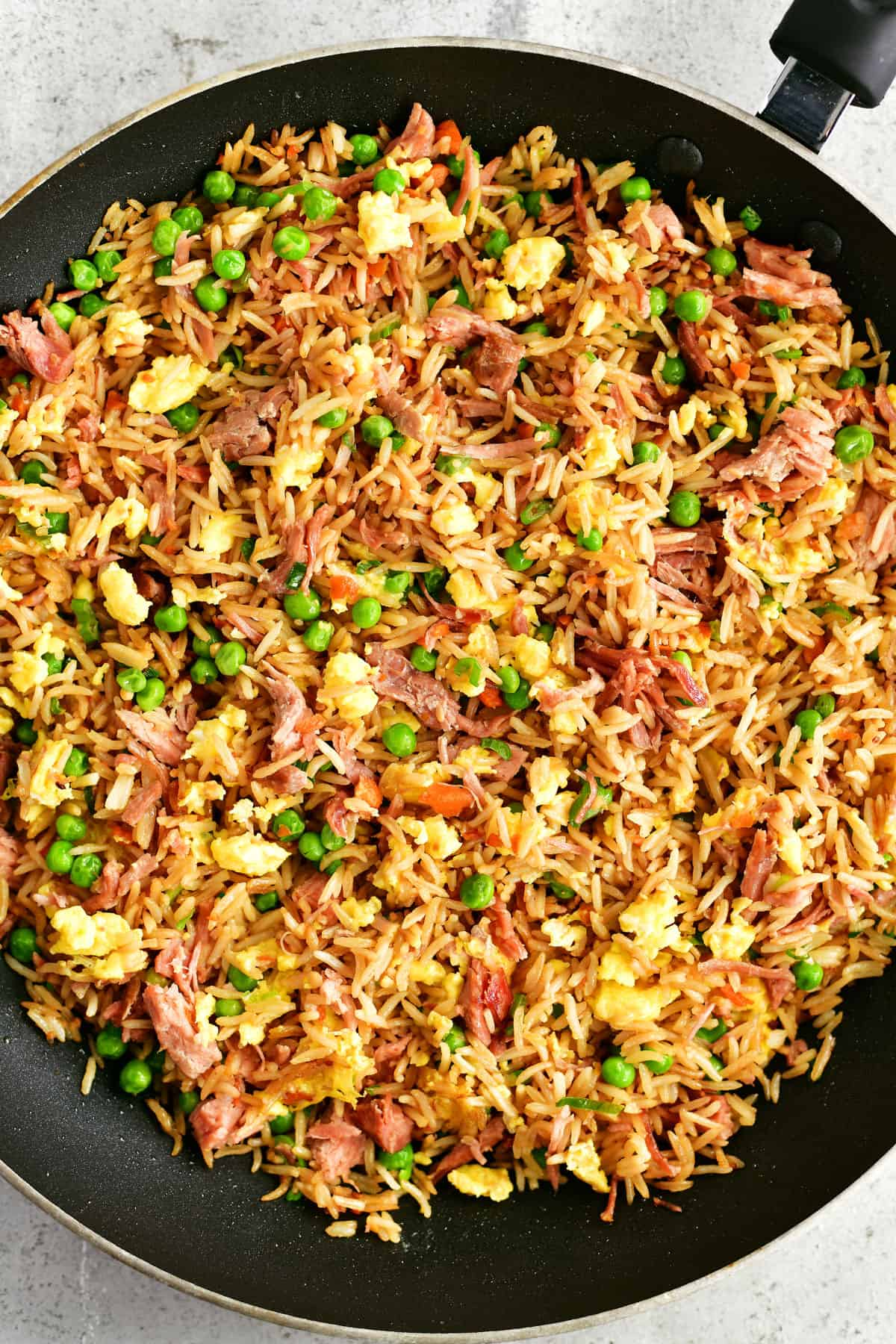 pork fried rice in a saute pan