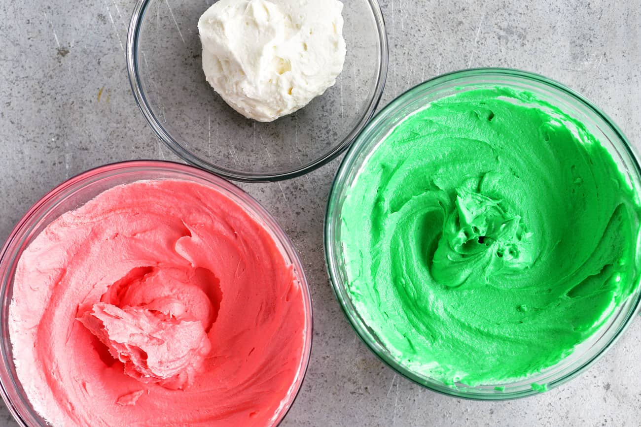 pink, green and white buttercream frosting
